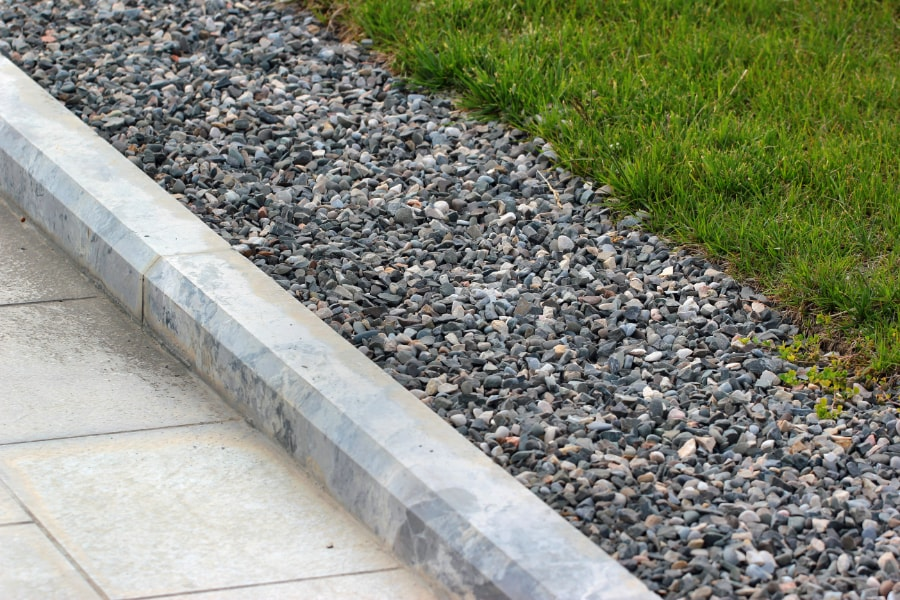 Newly laid decorative kerbs laid on new walkway in Swansea by specialist kerbing contractors